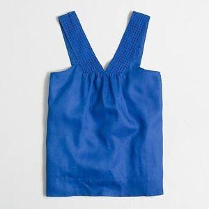 Jcrew v neck shell top linen eyelet blue tank